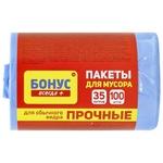 Пакет Бонус д/смiт.п/е 45*55 син.35л 100шт