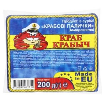 Крабовые палочки Краб Крабыч из сурими замороженные 200г