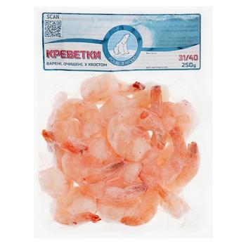 Креветки Polar Seafood вареные очищенные с хвостом 31/40 250г