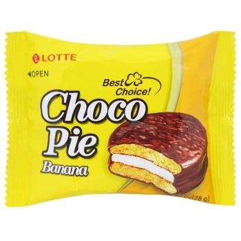 Тістечко бісквітне Lotte Choco Pie Банан перешароване глазуроване 28г