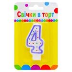 Свічка для торту Party Favors Цифра 4