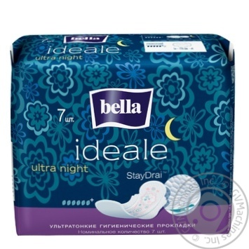Прокладки Bella Ideale Ultra гігієнічні ультратонкі нічні 6 крапельок 7шт - купити, ціни на МегаМаркет - фото 1