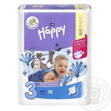 Дитячі підгузники BELLA BABY HAPPY MIDI 72 ШТ. GREEN TEA - купить, цены на Novus - фото 1