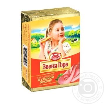 Сыр Звени Гора плавленый со вкусом бекона 90г - купить, цены на Ашан - фото 1
