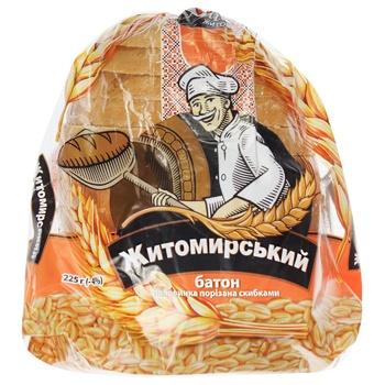 Батон Хліб Житомира Житомирський нарізаний половинка 0,225кг - купити, ціни на Ашан - фото 1