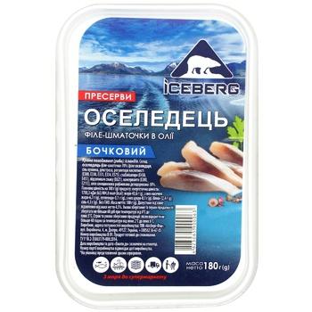 Оселедець пресерви Iceberg філе-шматочки в олії бочкова 180г - купити, ціни на CітіМаркет - фото 2