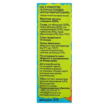 Сок Galicia мультифруктовый с мякотью из смеси плодов 200мл - купить, цены на Восторг - фото 2