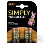 Щелочные батарейки Duracell AAA S, 4шт