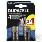 Батареи алкалиновые Duracell Turbo AA 3+1шт бесплатно
