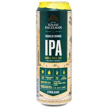 Пиво Volfas Engelman IPA светлое нефильтрованное 6% 568мл ж/б
