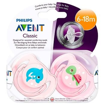 Avent Pacifier for Girls Dolphin+Turtle 6-18 months 2pcs - buy, prices for MegaMarket - image 2