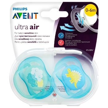 Пустышка Philips Avent Ultra Air дышащая 0-6мес 2шт - купить, цены на Novus - фото 2