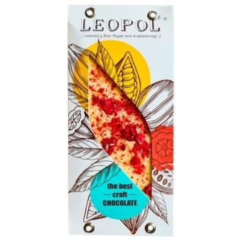 Шоколад Leopol' белый с кусочками малины 95г