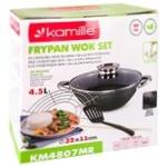 Сковорода-Вок Kamille KM4807MR 4.5л чавун з антипригарним мармуровим покриттям