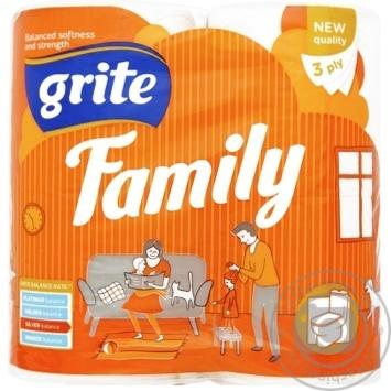 Бумага туалетная Grite Family трехслойная 4шт - купить, цены на Novus - фото 1