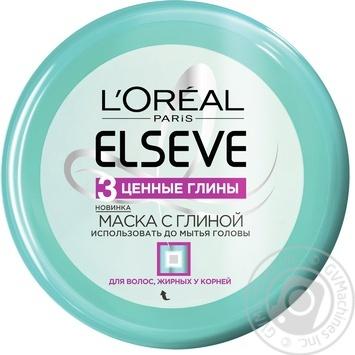Маска L'Oreal Elseve 3 ценные глины для жирных у корней волос 150мл - купить, цены на Novus - фото 1