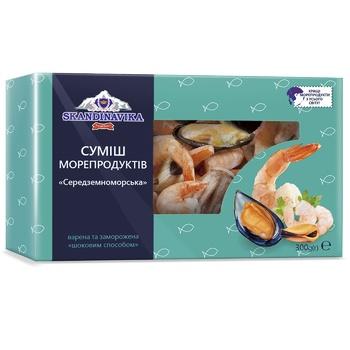 Смесь морепродуктов Skandinavika Средиземноморская варено-мороженая 300г - купить, цены на Ашан - фото 1
