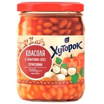 Фасоль Хуторок в томатном соусе 500г