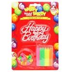 Свічки для торту Помічниця неонові з підставками 20шт