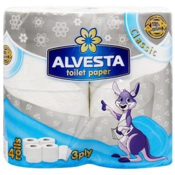 Туалетний папір Alvesta Classic тришаровий 4рул - купити, ціни на CітіМаркет - фото 1
