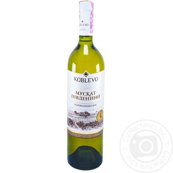 Вино Koblevo Muscat Select біле напівсолодке 9.5-13% 0,75л
