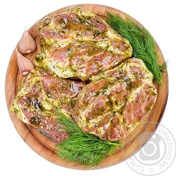 Стейк свинной с ошейка без кости в маринаде охлажденный