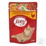 Корм Мяу Курица в нежном соусе для котов 100г