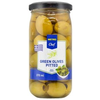 Оливки зеленые METRO Chef без косточки 370мл - купить, цены на Метро - фото 1
