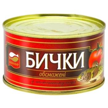 Консерва рибна Аквамир бички обсмажені в томатному соусі 230г - купити, ціни на CітіМаркет - фото 1