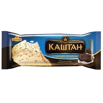 Морозиво Хладик Каштан з темним печивом в білій кондитерській глазурі 75г - купити, ціни на CітіМаркет - фото 2