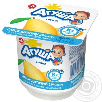 Agusha For Babies From 6 Months With Pear Cottage Cheese 3.9% 100g - buy, prices for Novus - image 1