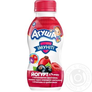 Йогурт детский Агуша Иммунити малина-черная смородина-шиповник 2,7% 200г - купить, цены на Novus - фото 1