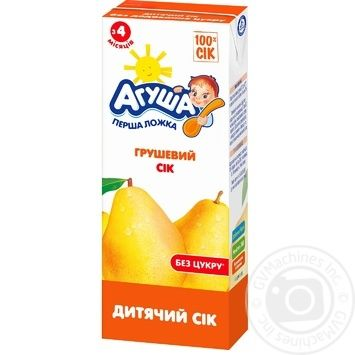 Сок Агуша Груша для детей от 4 месяцев 200мл - купить, цены на Фуршет - фото 1