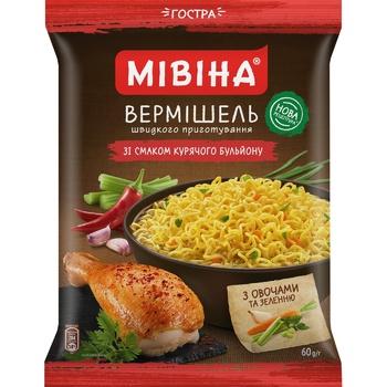 Вермишель МИВИНА® со вкусом Куриного бульона острая 60г - купить, цены на МегаМаркет - фото 1