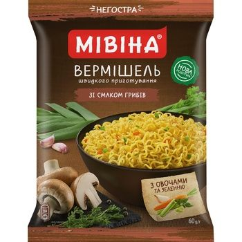 MIVINA® Mushroom flavoured instant noodles (non-spicy) 60g - buy, prices for MegaMarket - image 1