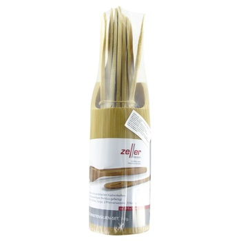 Zeller Set of Bamboo Spatulas and Spoons on Stand 7pcs