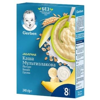 Каша молочна Gerber мультизлакова з йогуртом, бананом і грушею 240г