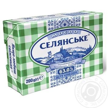 Selianske Dairy butter sweet cream 63% 200g - buy, prices for Furshet - image 1