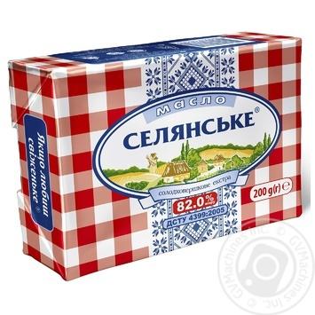Масло Селянское сладкосливочное 82% 200г - купить, цены на Novus - фото 1