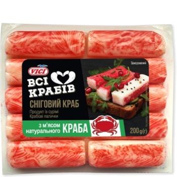 Крабовые палочки VICI с мясом натурального краба замороженные 200г - купить, цены на Ашан - фото 1