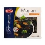 Мидии Vici в ракушках варено-мороженые в чесночном соусе 500г