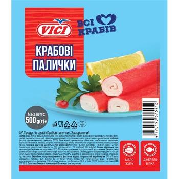 Крабові палички VICI імітація з сурімі заморожені 500г - купити, ціни на Ашан - фото 1