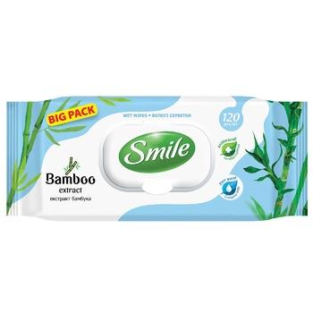 Салфетки влажные Smile экстракт бамбука 120шт - купить, цены на Метро - фото 1