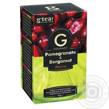 Чай черный G'tea! Gourmet гранат и бергамот в пакетиках 20шт*1,75г