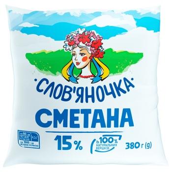 Slovianochka Sour Cream 15% 380g - buy, prices for CityMarket - photo 1