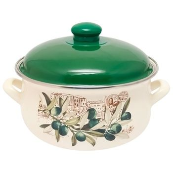 Infinity Olive Enamelled Pan with Cap 1,8l - buy, prices for CityMarket - photo 1