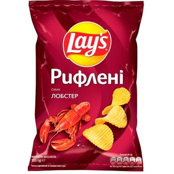 Чипсы Lay's картофельные со вкусом лобстера рифленые 133г - купить, цены на ЕКО Маркет - фото 1