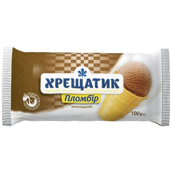 Мороженое Хрещатик пломбир шоколадный в вафельном стаканчике 100г - купить, цены на Фуршет - фото 1