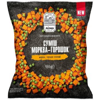 Овощная смесь Лимо Морковь с горошком быстрозамороженная 400г
