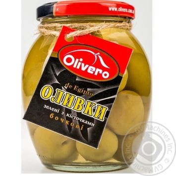 Оливки зеленые Olivero бочковые с косточками 350г